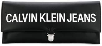 Calvin Klein Jeans embossed logo clutch