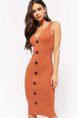 Forever 21 Ribbed Mock Button-Front Dress