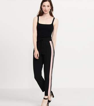 Dynamite Knitted High Rise Pant With Side Stripe JET BLACK/PINK STRIPE
