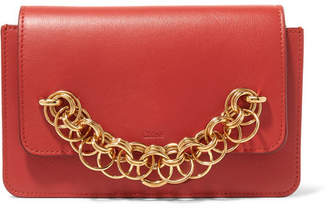 Drew Bijou Textured-leather Clutch - Brick