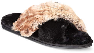 INC International Concepts I.n.c. Faux-Fur Cross Band Slippers, Created for Macy's