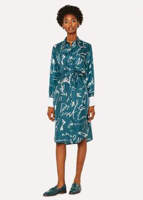 Women's Teal 'Ideas Script' Print Silk Shirt Dress