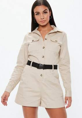 504a1479f3 at Missguided · Missguided Sand Utility Long Sleeve Belted Playsuit