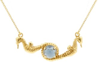 Lee Renee Seahorse Blue Topaz Necklace Gold
