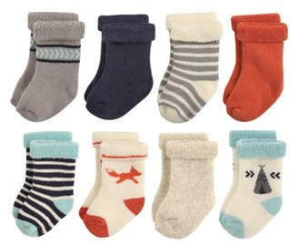 Hudson Baby Roll Cuff Patterned Crew Socks, 8-Pack (Baby Boys)