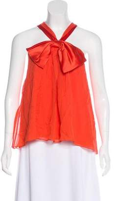 Alice + Olivia Silk Sleeveless Bow-Accented Top