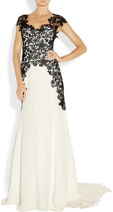 Lela Rose Lace-appliquéd silk gown
