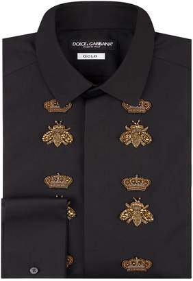 Dolce & Gabbana Embellished Bee and Crown Shirt