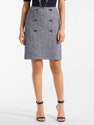 St. John Contrast Geometric Knit Sailor Skirt
