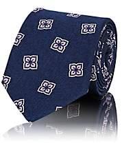 Fairfax Men's Floral-Medallion Silk Faille Necktie - Navy