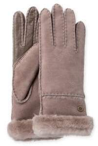 UGG Exposed Slim Sheepskin-Trimmed Leather Gloves