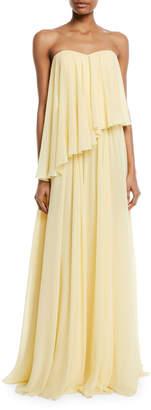 Badgley Mischka Asymmetric Strapless Popover Gown