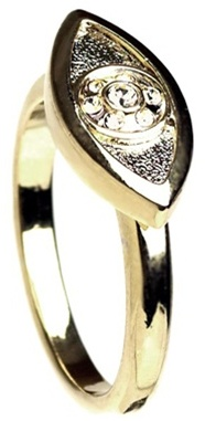 House of Harlow 1960 - Vertical Evil Eye Ring with Smokey Gray Pave - 14 Karat Yellow Gold Plated