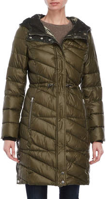Andrew Marc Hooded Quilted Longline Coat