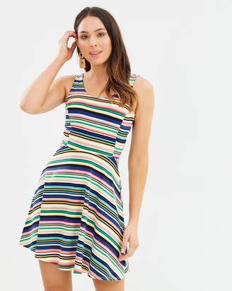Dorothy Perkins Multi Stripe Fit-and-Flare Dress
