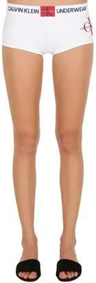 Calvin Klein Underwear Logo Printed Cotton Jersey Boy Shorts
