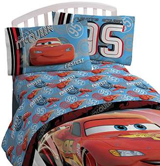 Disney Pixar Cars 95 Full 4 Piece Blue Sheet Set with Lightning McQueen (Offical Pixar Product)
