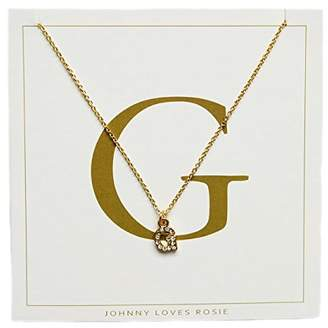 e3e31fc5d5e746 ... Johnny Loves Rosie Women Gold Plated Glass Chain Necklace of Length  48cm G Initial Gift Card