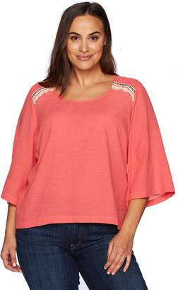 Melissa McCarthy Women's Plus Size 3/4 Sleeve Scoop Neck Skimmer Tee