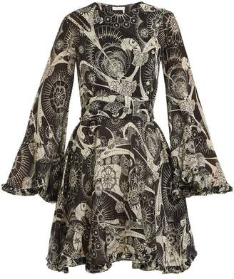 Chloé High Neck Dotted Floral Print Cotton Blend Dress - Womens - Black White