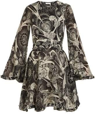 Chloé High Neck Dotted Floral Print Cotton Blend Dress - Womens - Black White