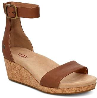 daf4118366d7 UGG Women s Zoe II Leather Cork Wedge Ankle Strap Sandals