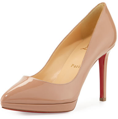 Christian Louboutin Christian Louboutin Pigalle Plato Patent Red Sole Pump, Nude