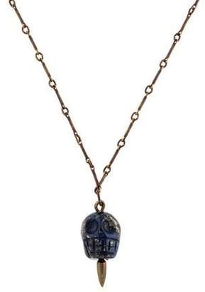 Pamela Love Lapis Mini Skull Pendant Necklace