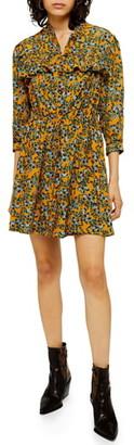 Topshop Floral Print Pleat Minidress