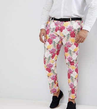 Asos Design PLUS Wedding Skinny Crop Smart Pants In Pink Floral Print