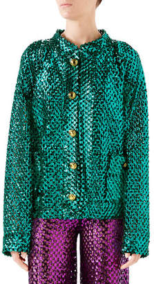 Gucci Sequined Wool-Mesh Cardigan