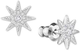 Swarovski Silver-Tone Pave Star Stud Earrings
