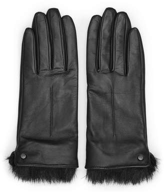 Reiss DALTON DENTS LEATHER AND FAUX-FUR GLOVES Black