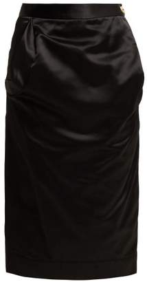 Vivienne Westwood Gathered Satin Pencil Skirt - Womens - Black