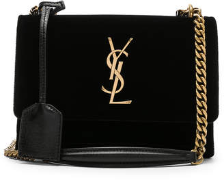 Saint Laurent Small Velvet & Leather Sunset Chain Bag