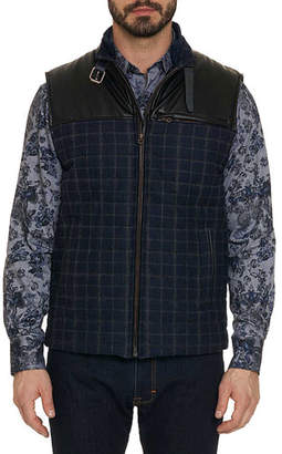 Robert Graham Men's McClement Plaid Zip-Front Vest with Leather Trim