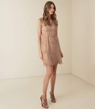 Reiss GEMINA LACE FIT AND FLARE DRESS Nude