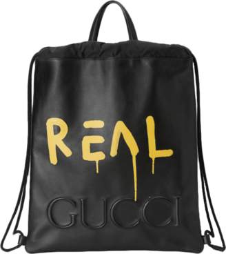 Gucci Drawstring Backpack GucciGhost Black/Yellow