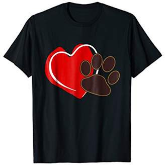 I Love Dogs Paw Print And Heart T-Shirt