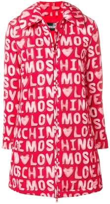 Love Moschino logo printed coat