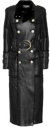 Balmain Shearling-trimmed leather coat