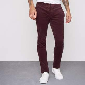 River Island Dark red cord skinny smart pants