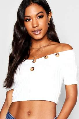 boohoo Bardot Short Sleeve Rib Knit Top