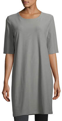 Eileen Fisher Half-Sleeve Crepe Shift Dress, Petite