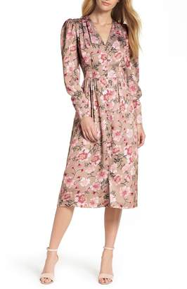 Gal Meets Glam Carla Button Front Crinkle Satin Dress