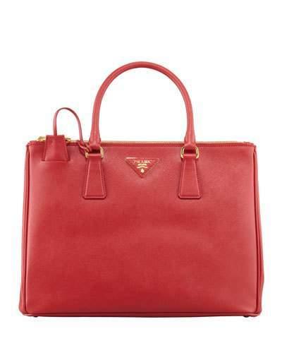 Prada Medium Saffiano Double-Zip Executive Tote Bag, Red (Fuoco)