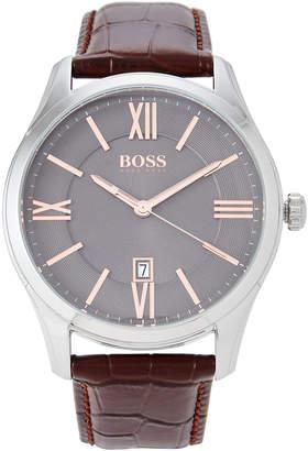HUGO BOSS 1513041 Silver-Tone & Brown Ambassador Watch