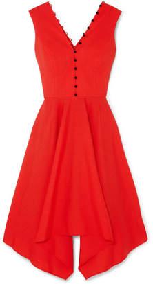 ADEAM Asymmetric Wool-blend Crepe Dress - Red