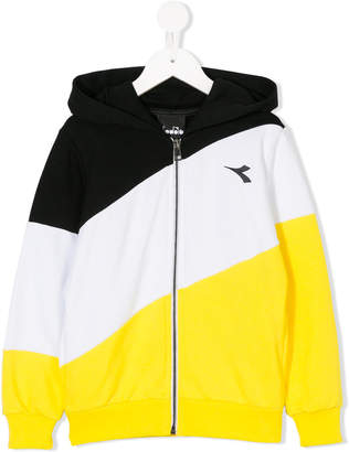 Diadora Junior color block hooded jacket