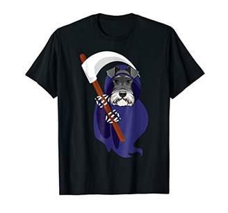 Mini A Ture Cute Miniature Schnauzer Grim Reaper T-Shirt Funny Halloween